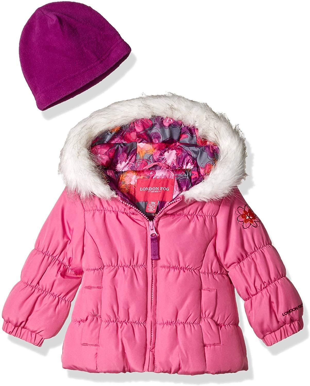 London Fog Girls Winter Coat with Scarf /& Hat