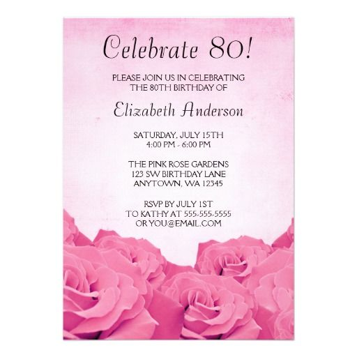 Birthday Invitations For 80Th