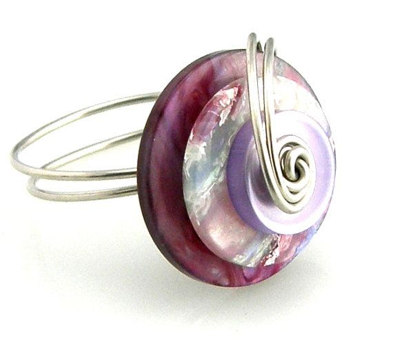 Button Ring Wire Wrapped Layered Berry Colors by TrinketsNWhatnots ...