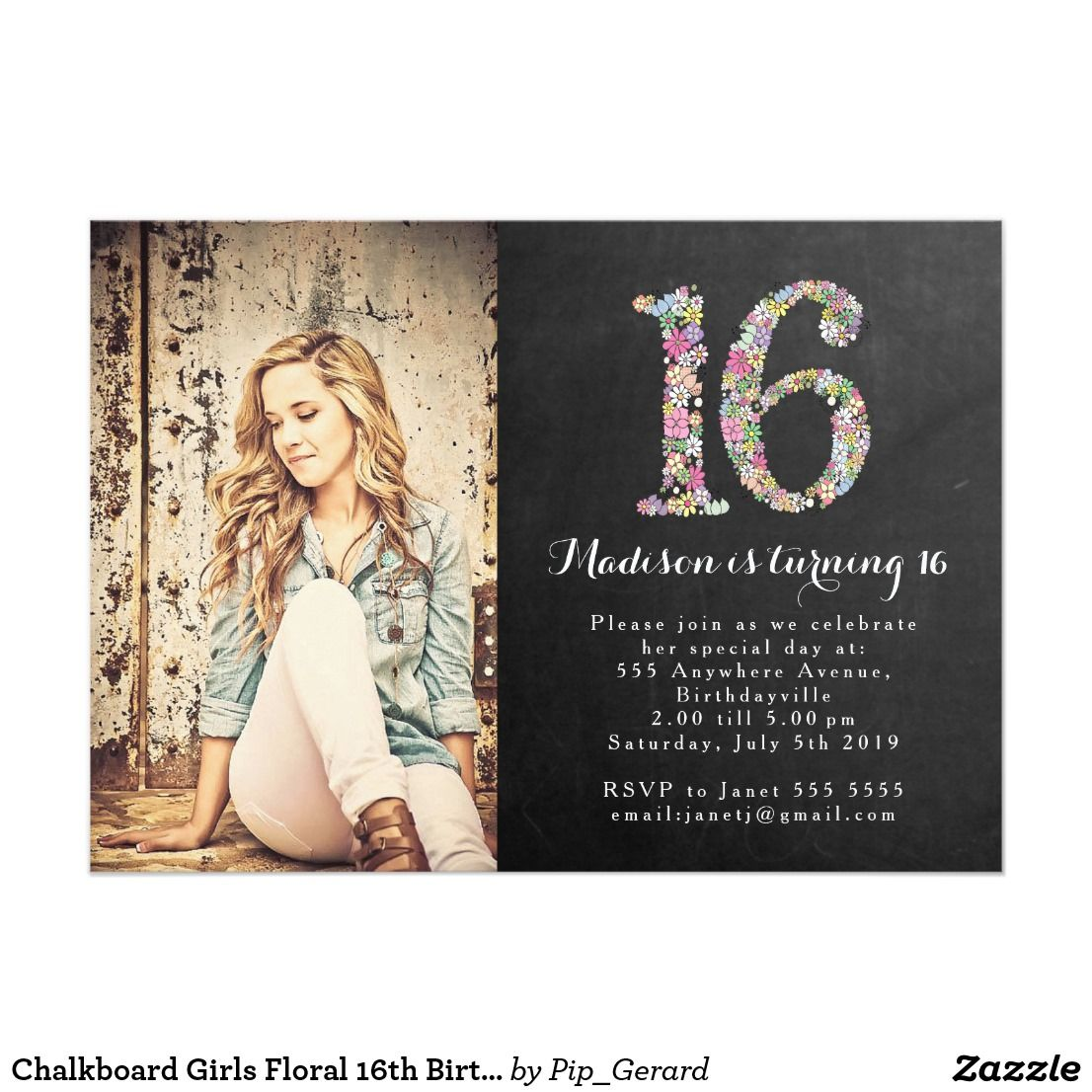 Chalkboard Girls Floral 16th Birthday Party Invite | Zazzle.com #sweet16birthdayparty