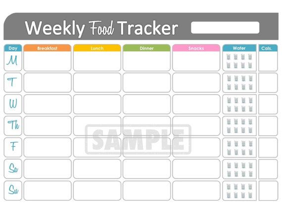 photo regarding Food Tracker Printable called Weekly Food stuff Tracker - Printable for Conditioning and Conditioning