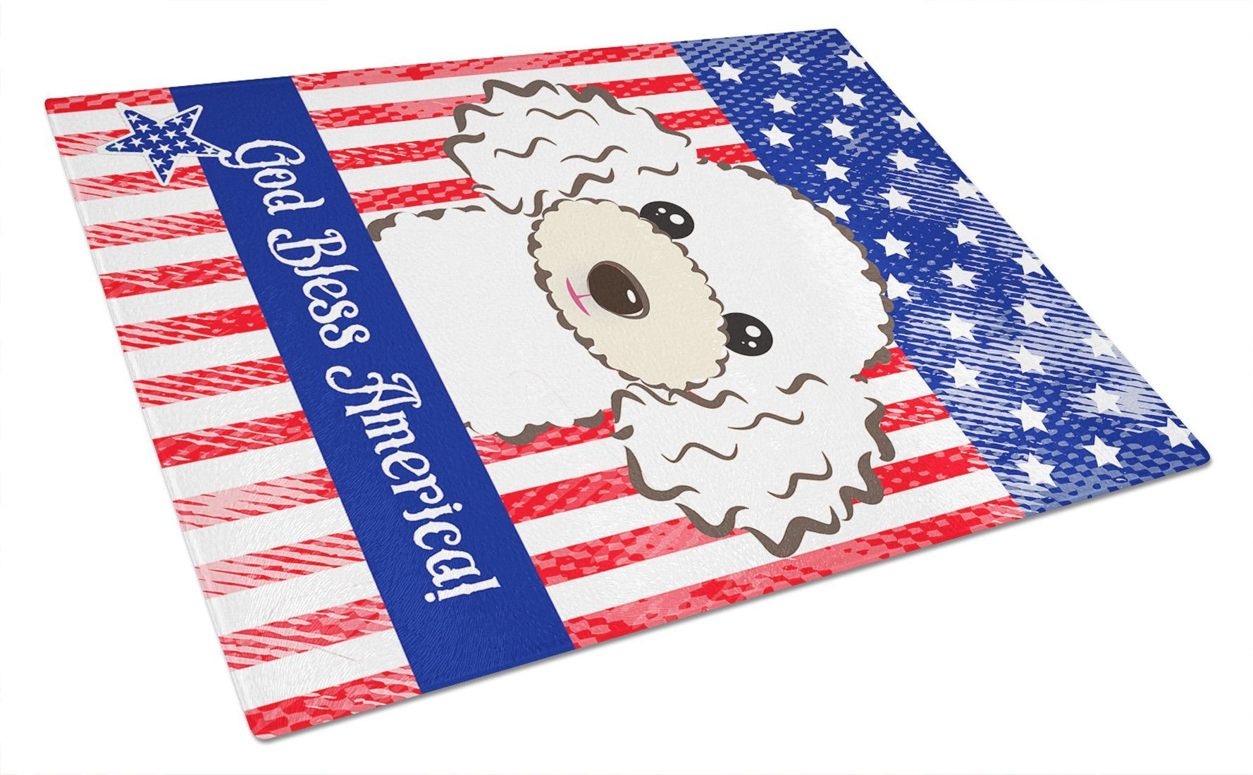 God Bless American Flag with White Poodle Glass Cutting Board Large BB2187LCB