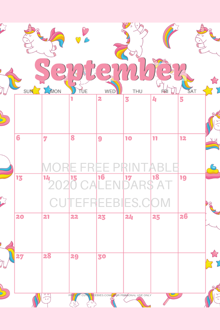 Cute Unicorn 2021 Calendar   Free Printable!   Cute Freebies For