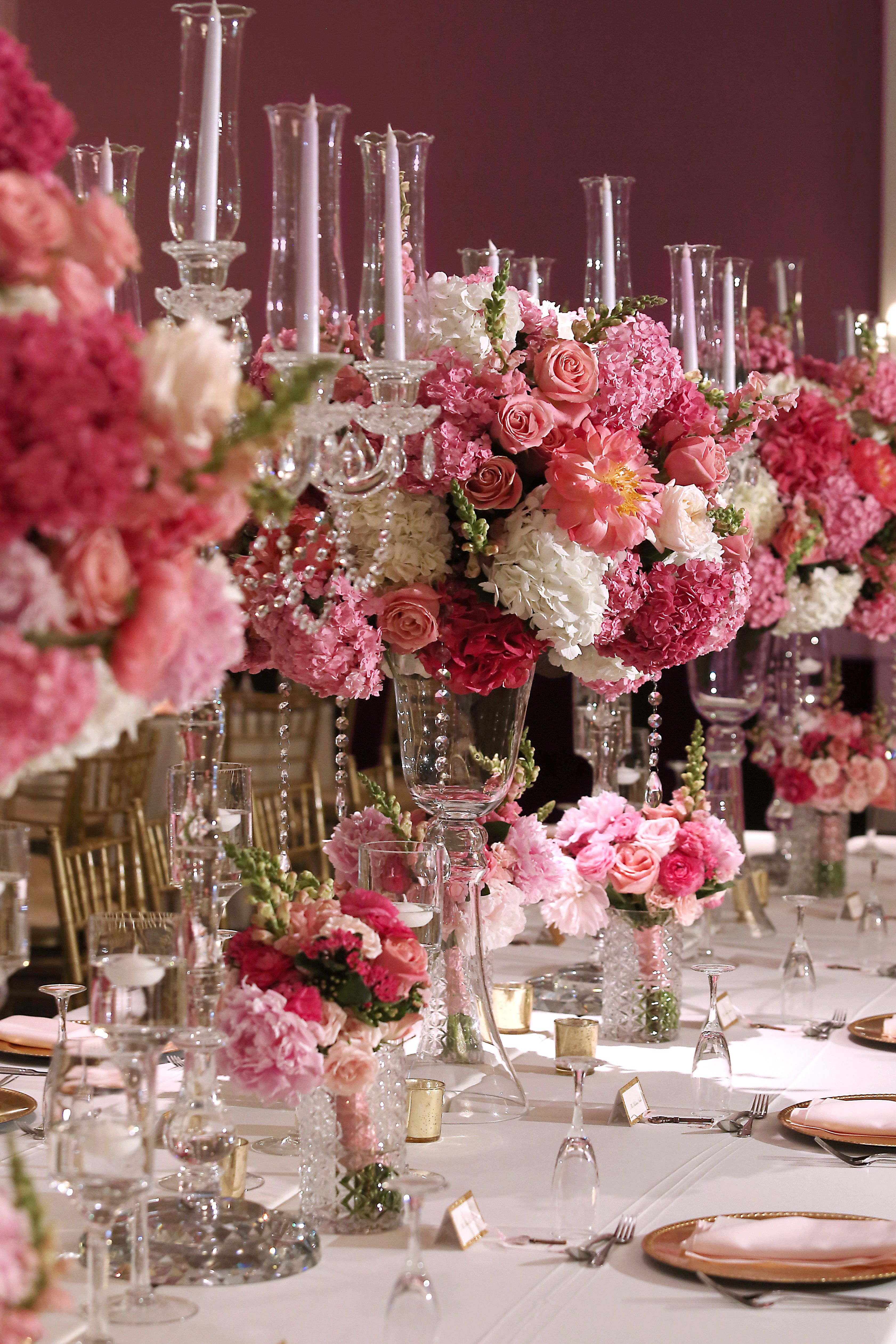 Pretty In Pink Wedding Tall Centerpiece Floral Head Table Luxury Florists Wedding Table Decorations Pink Wedding