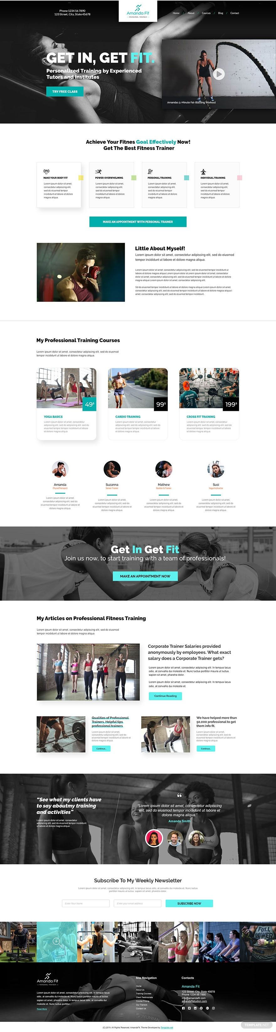 Personal Trainer PSD Landing Page Template in 2020