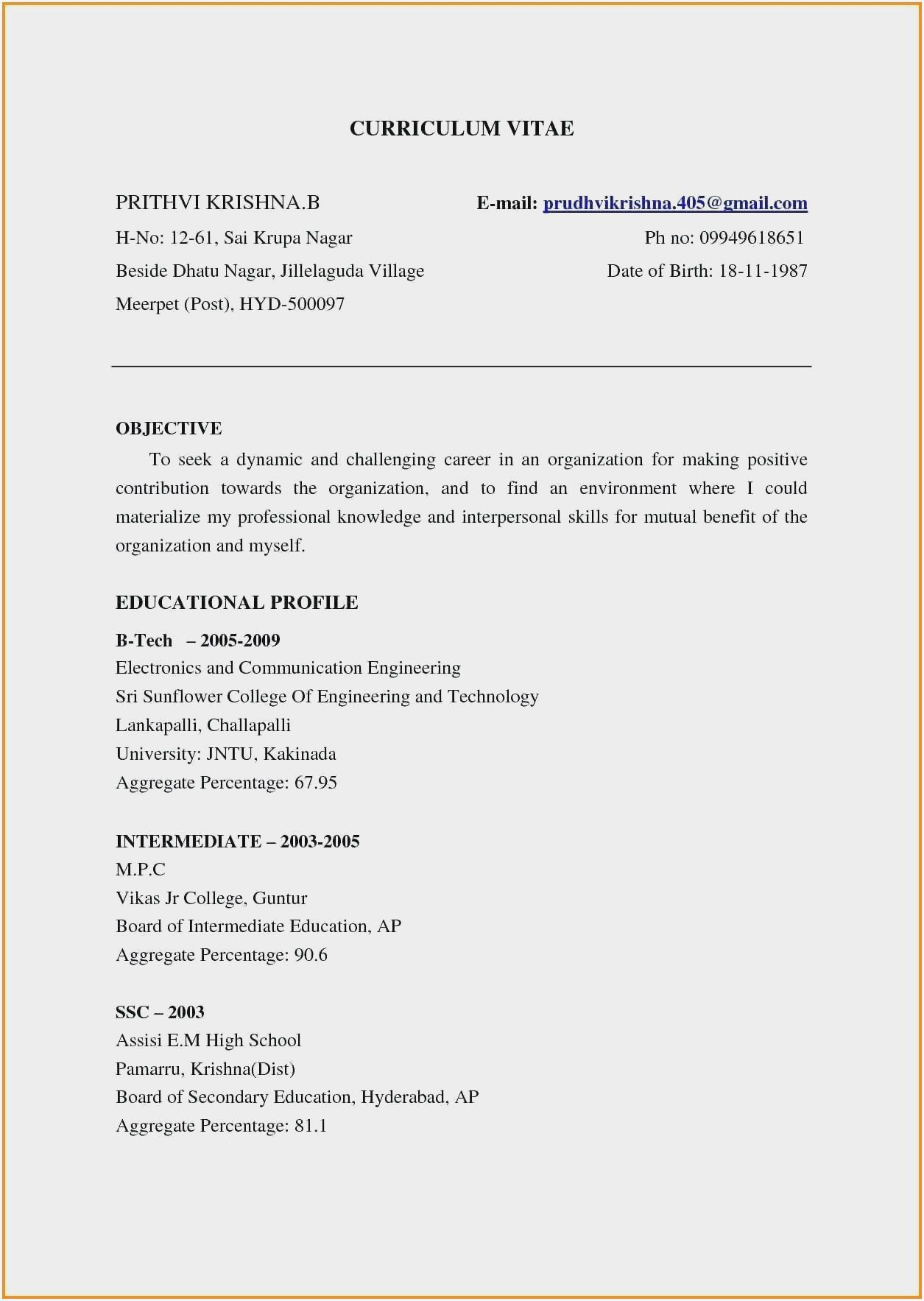 Resume Templates For Freshers With Photo