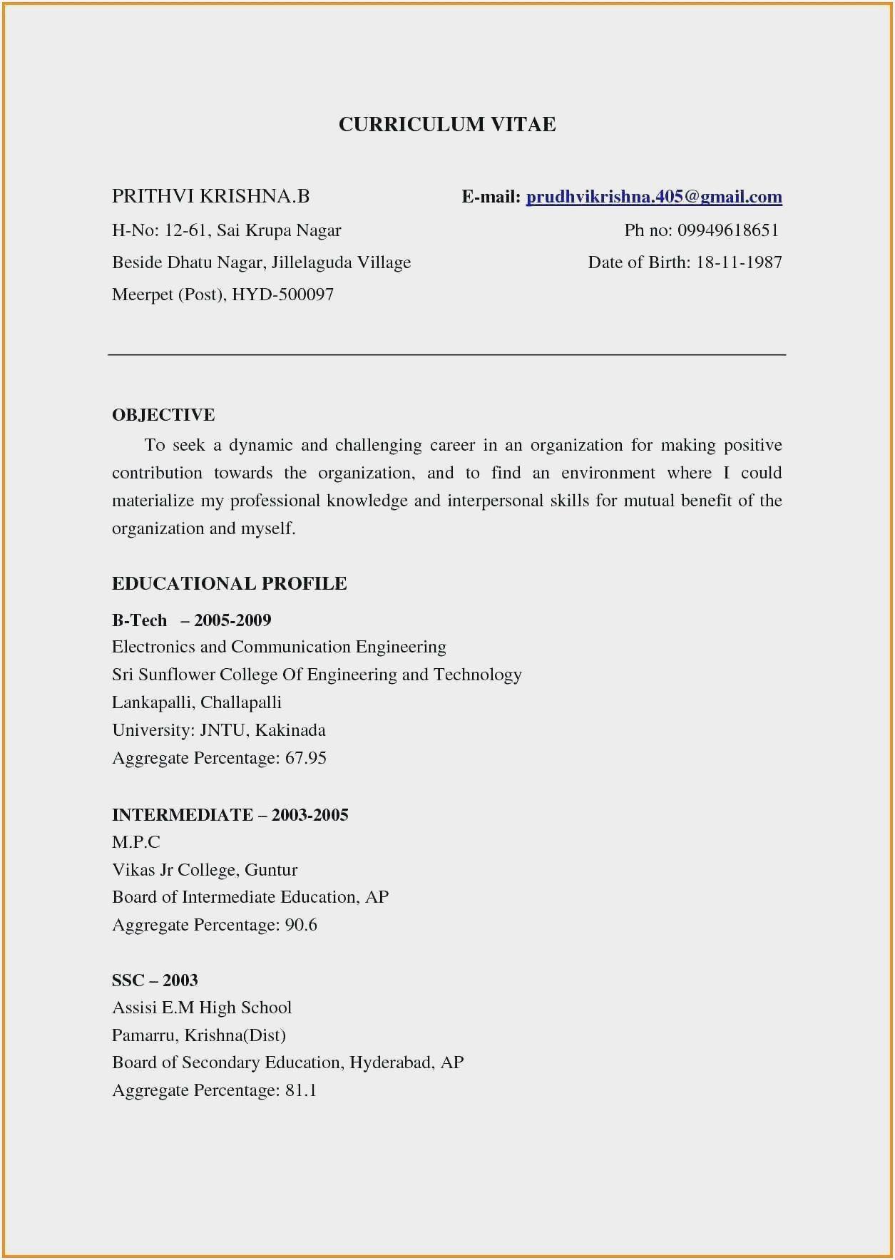 Resume Sample For Fresher Bca Resume format download