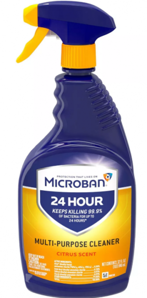 Microban 24 Hour Multi Purpose Cleaner And Disinfectant Spray In Stock In 2020 Multipurpose Cleaner Bathroom Cleaner Citrus Scent