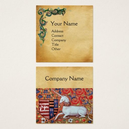 UNICORN /Antique Floral Brown Parchment Monogram Square Business Card