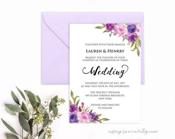 lavender invitation template purple lilac watercolor flowers