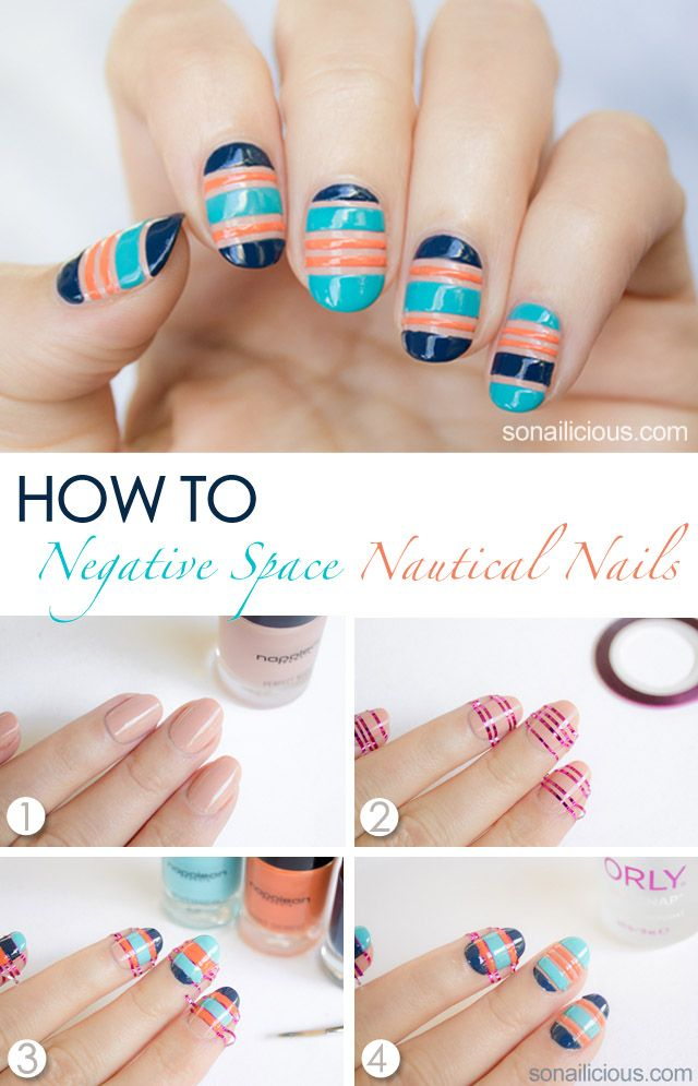Negative Space Nautical Nails Tutorial Nautical Nails Nautical