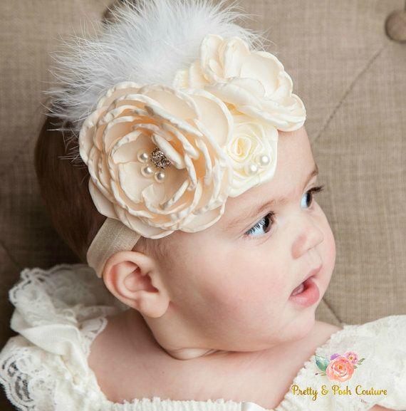 Peach HeadbandPeach Baby HeadbandBaby HeadbandNewborn HeadbandInfant HeadbandShabby Lace HeadbandBaby Girl HeadbandEaster Headband