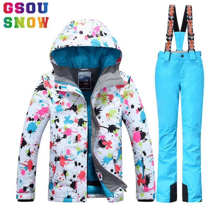 c5f489676a GSOU SNOW Women s Ski Suit Winter Ski Jacketski Pants set Waterproof keep  warm Outdoor Skiing Suit