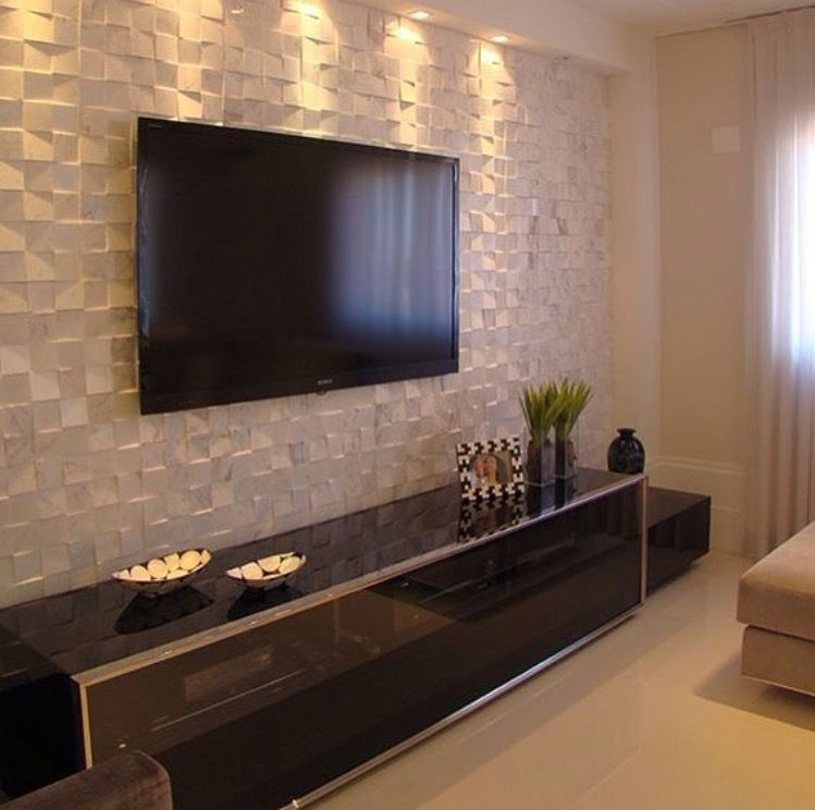 Living Room I Like The Textured Wall With Tv And How It Shows That You Dont Have To Do Whole As Well