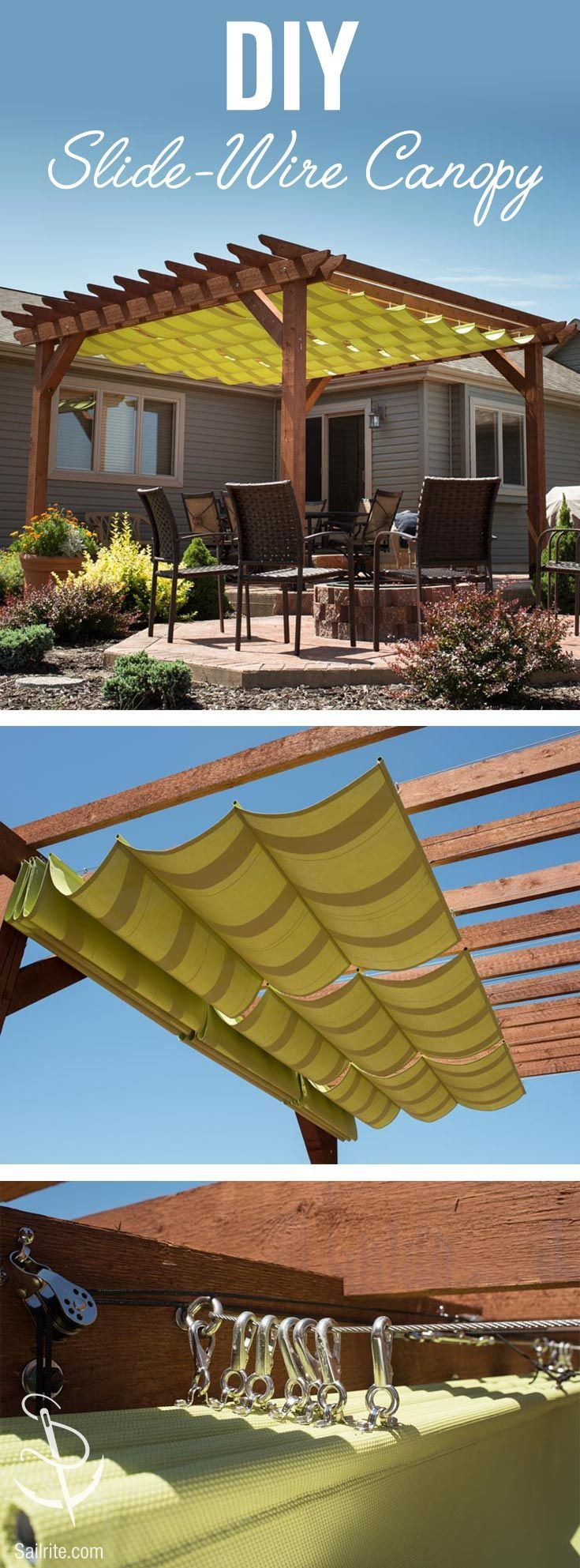 Learn How To Make A Slide Wire Canopy With Free How To Video Instructions From Sailrite Backyard Pergola Slide Wire Canopy