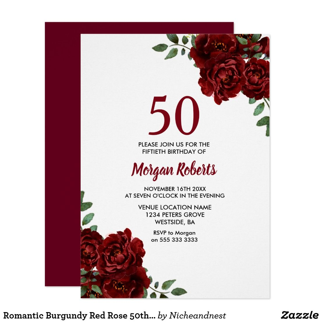 Romantic Burgundy Red Rose 50th Birthday Invite | Party invitations ...