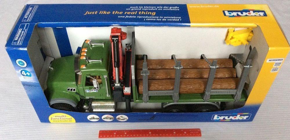 Bruder Toys Mack Granite Kids Timber Truck W Loading Crane 3 Trunks 02824 Crane Kids Mack
