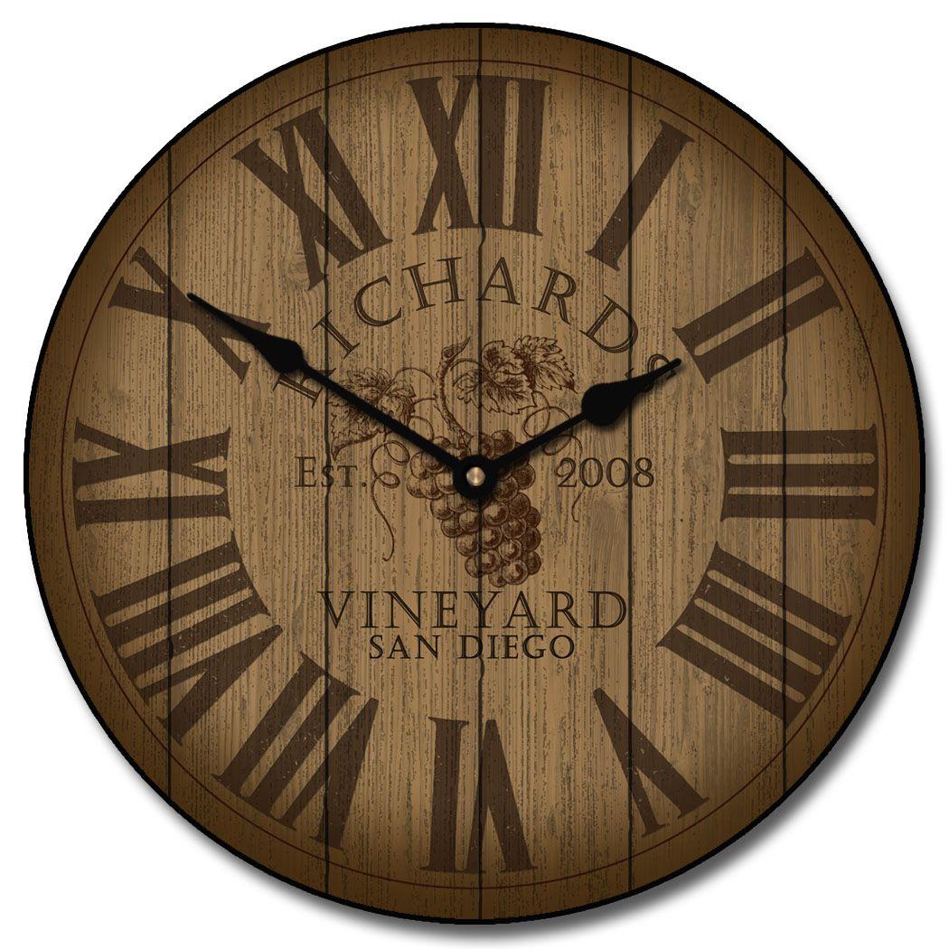Wine Barrel Lid Clock Decoratecollecttime Pieces Pinterest