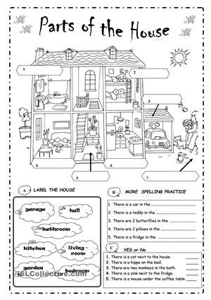Label the parts of the house … | vocab | Teaching english ...