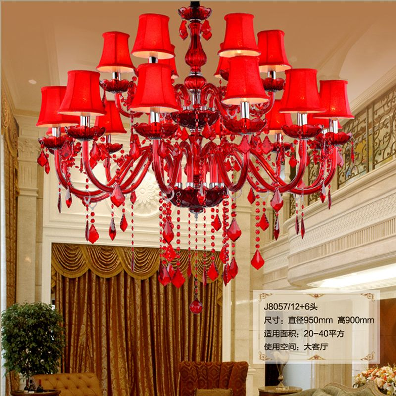 High ceiling red crystal chandelier Large Led vintage chandelier ...