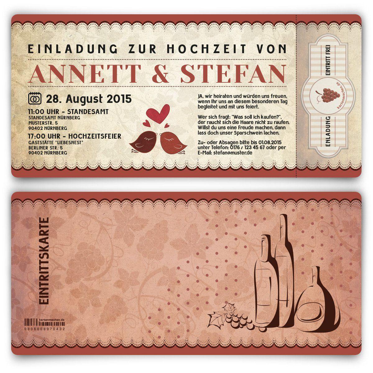 Einladungskarten Zur Hochzeit 100 Stück Wein Rot Rotwein