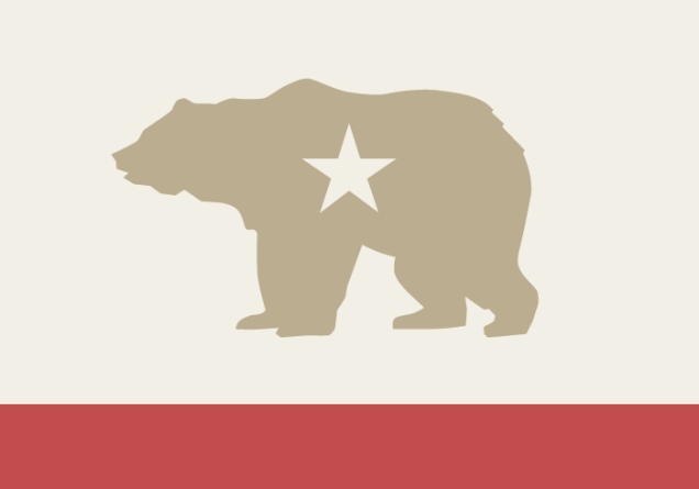"""The California state flag features a California grizzly"