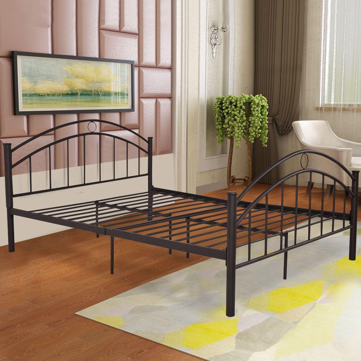 Best Black Queen Size Metal Frame Bed Mattress With Heardboarder Modern Bedroom Furniture Steel 400 x 300