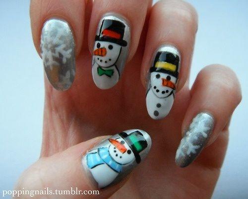 Snowmen Nails - Winter Christmas Nail Art - Snowmen Nails - Winter Christmas Nail Art Winter Nail Art