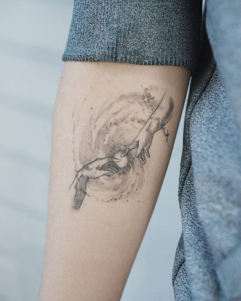 Cosmic creation of adam tattoo 2 months healed tattoos