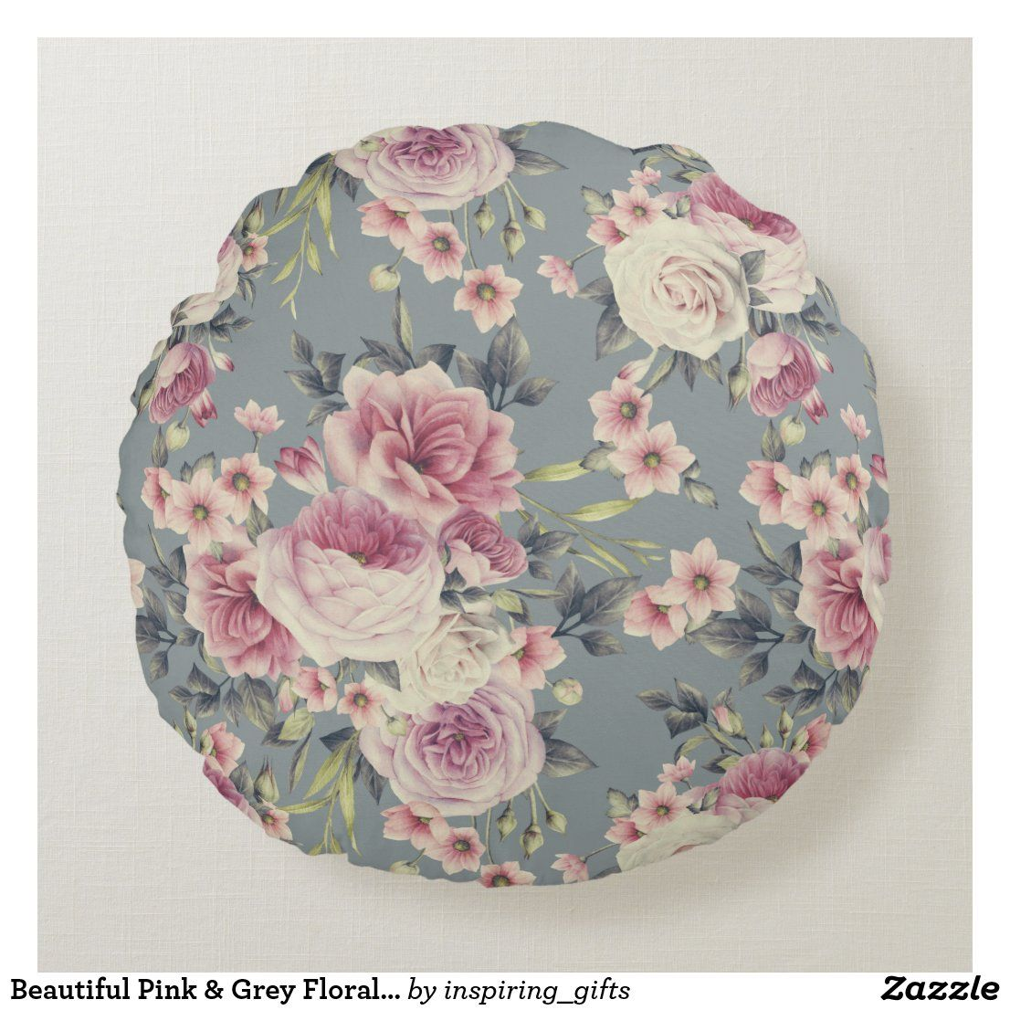 Beautiful Pink & Grey Floral Print Round Pillow