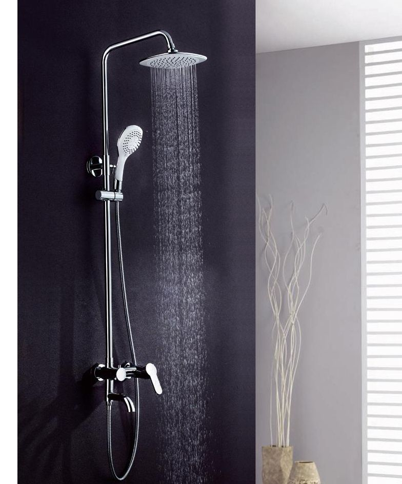 Modern Chrome Wall Mounted Rain Shower Valve Tap Set With