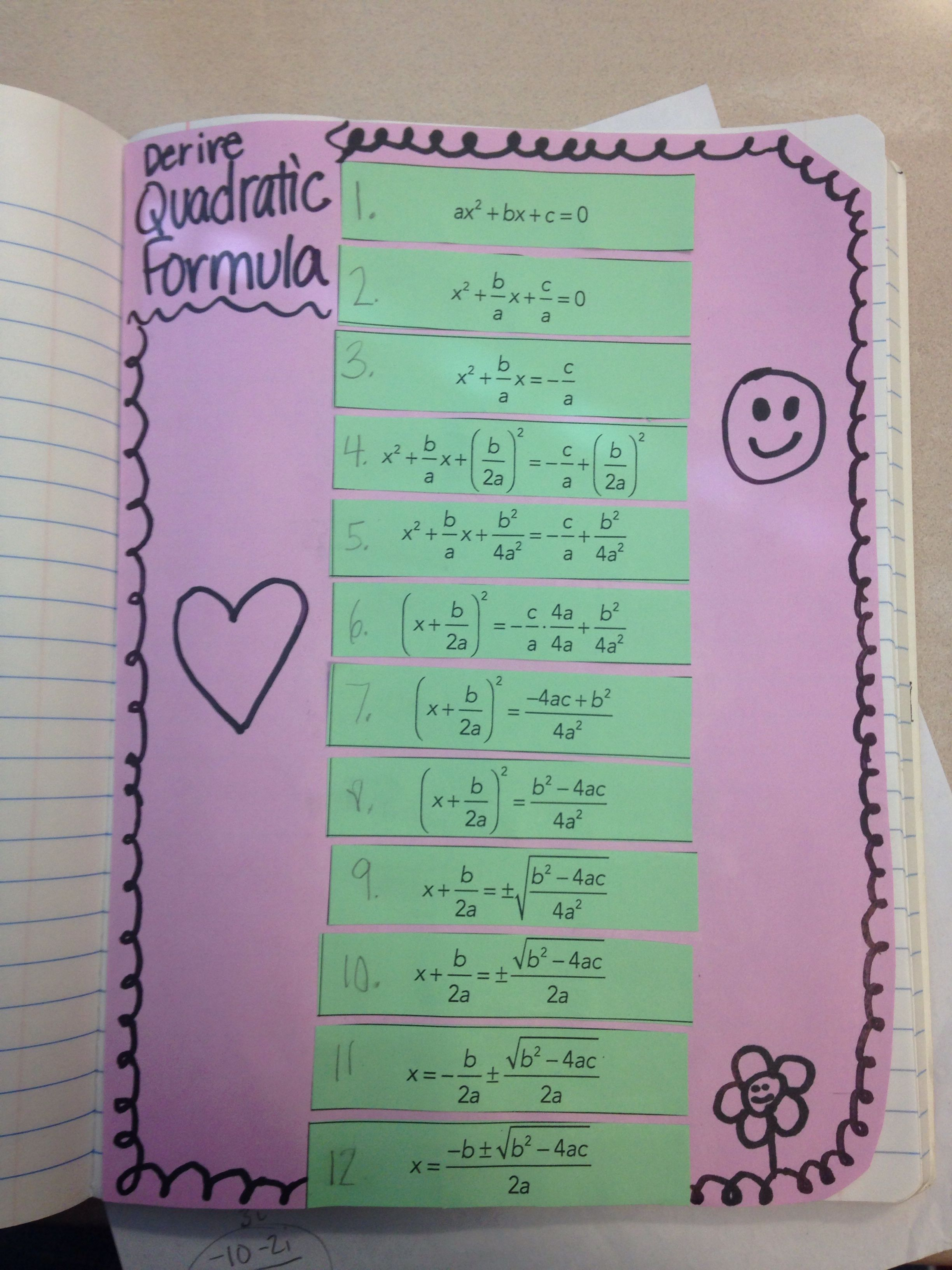 Cute Way To Derive The Quadratic Formula
