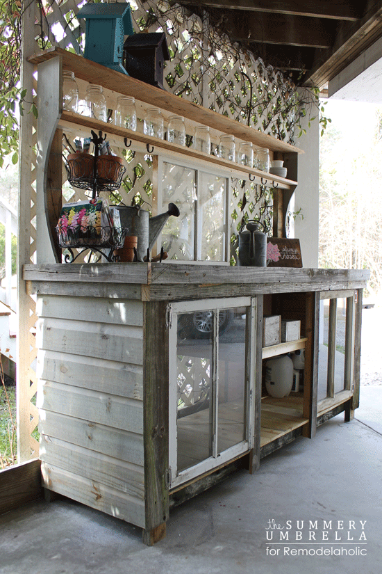 Diy How To Build A Potting Bench Using Salvaged Windows And Reclaimed Wood Via Remodelaholic