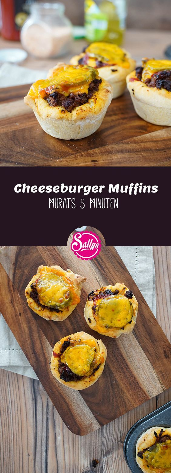 Murats cheeseburger muffins consist of a pizza dough and a tasty minced meat filling The muffins are covered with cheddar cheese The perf