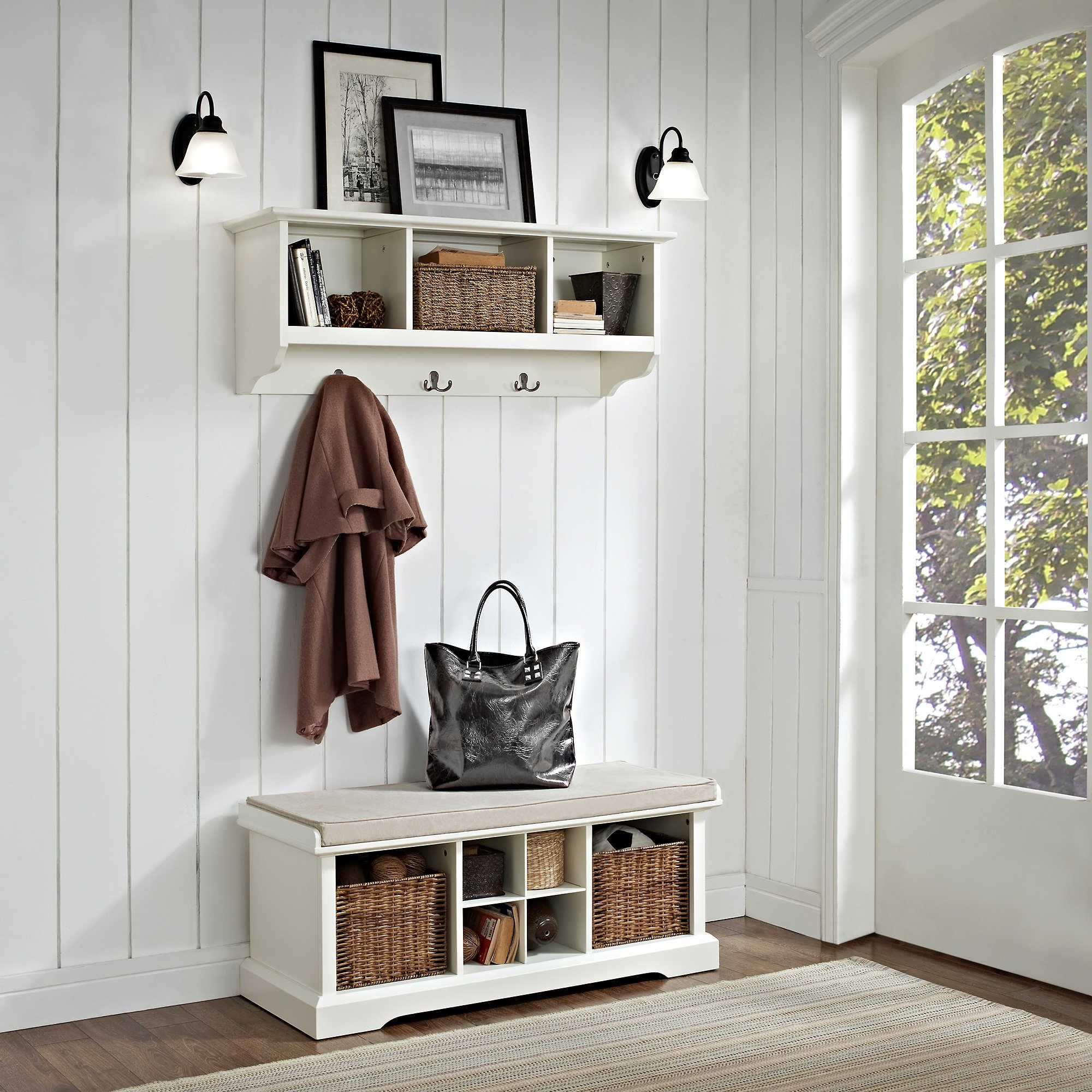 Beau Crosley Brennan Entryway Storage Bench With Storage Shelf   White   Indoor  Benches At Hayneedle