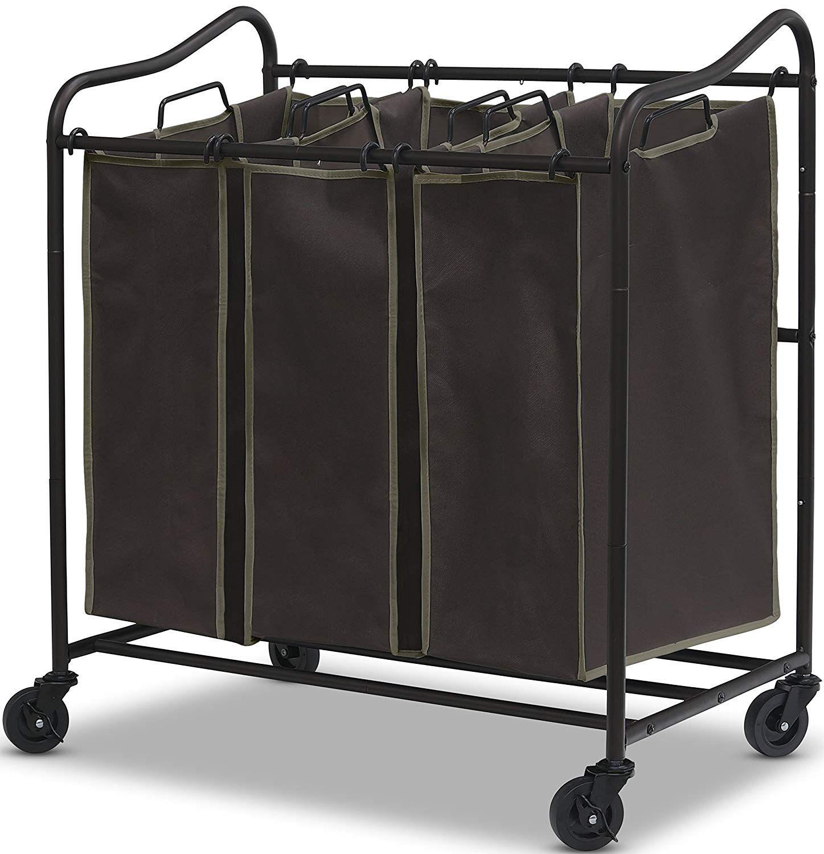 Simple Houseware Heavy Duty 3 Bag Laundry Sorter Rolling Cart