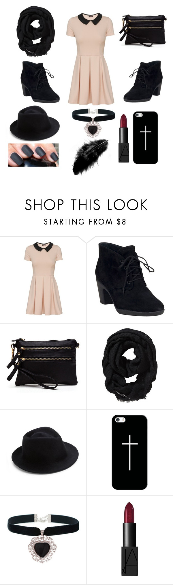 """""""Untitled #78"""" by theghostgirl157 ❤ liked on Polyvore featuring Clarks, Old Navy, Eugenia Kim, Casetify, Rock 'N Rose and NARS Cosmetics"""