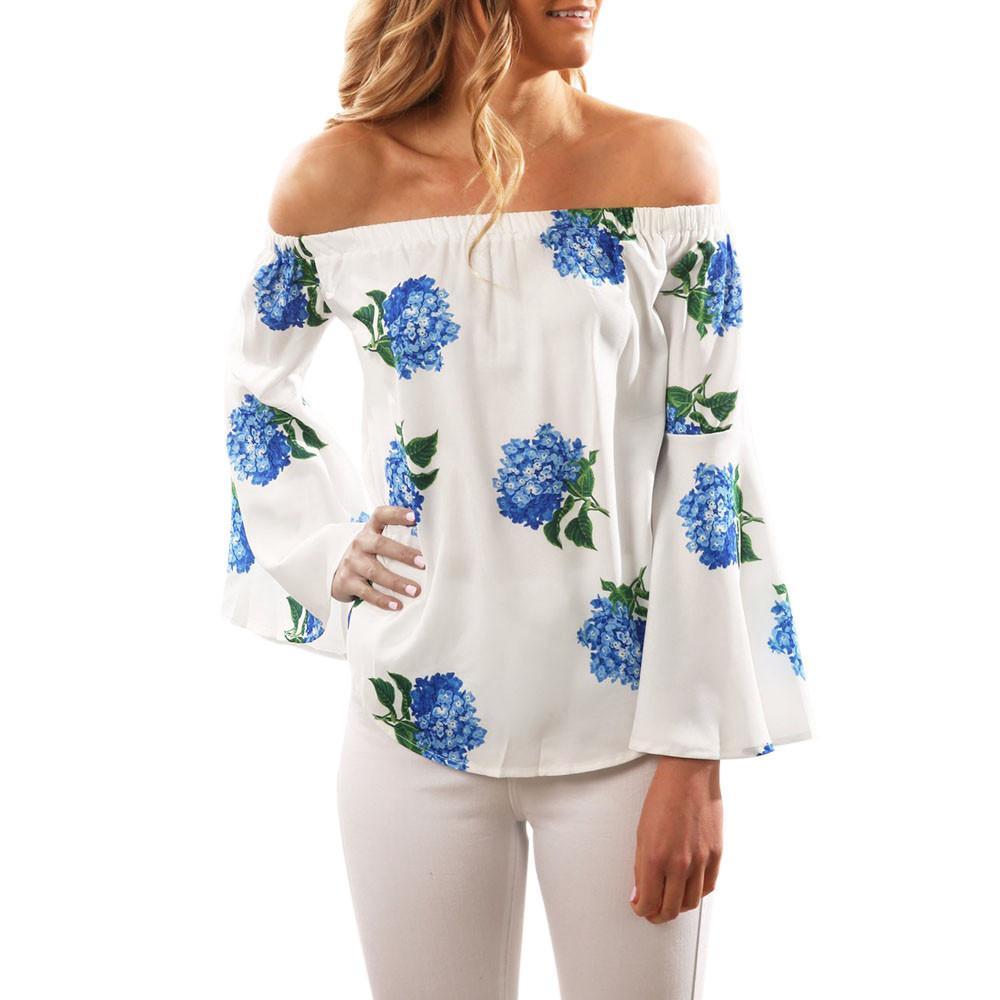 5383fa8d476 Women Long Sleeve Off Shoulder Floral Printed Blouse Casual Tops – Denim  Burlap   Lace