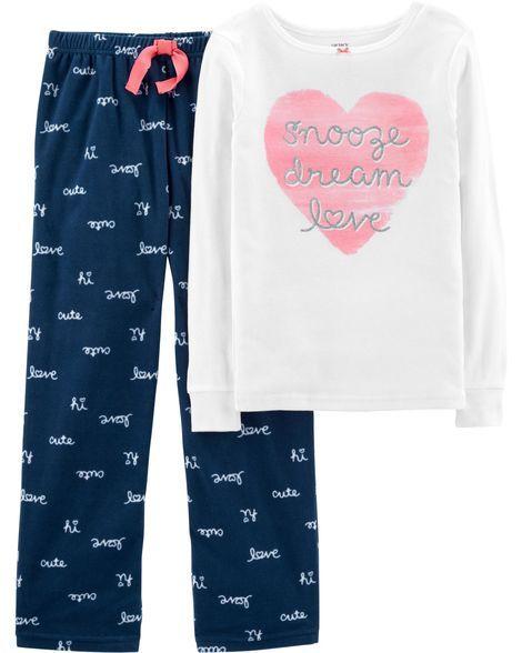 e931d9b043b0 2-Piece Love Cotton   Fleece PJs
