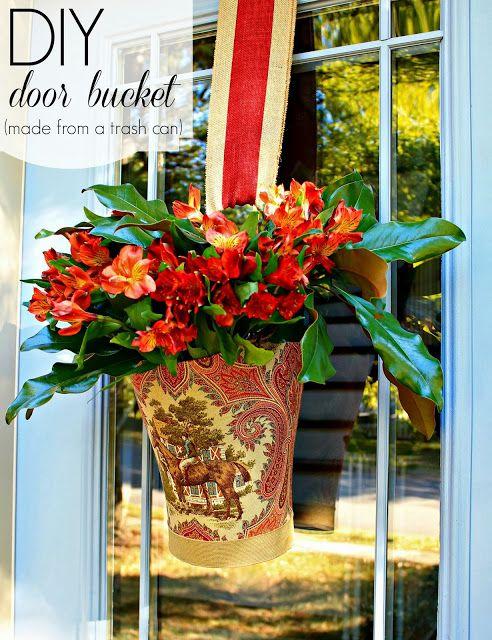 Trash Can Fresh Flower Door Vase Door Decorations Diy Door Fresh Flowers