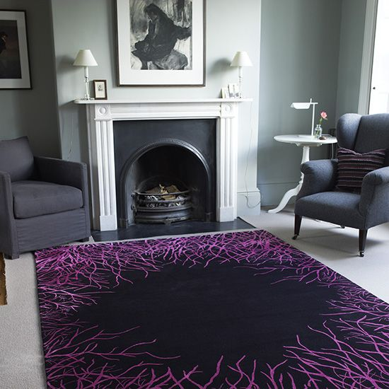 Striking Purple Rug Is A Bright Accent In An Otherwise Muted Living Room Purple Living Room Rugs In Living Room Elegant Furniture