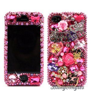 FOR MY BESTIE: 3D Swarovski Pink Juicy Couture Crystal Bling Case Cover for iphone 4 / 4s