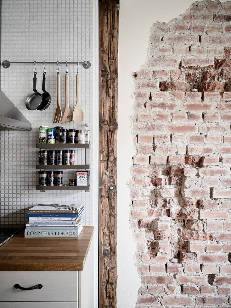 Suelo y pared de ladrillo visto Kitchen dining, Dining and Kitchens