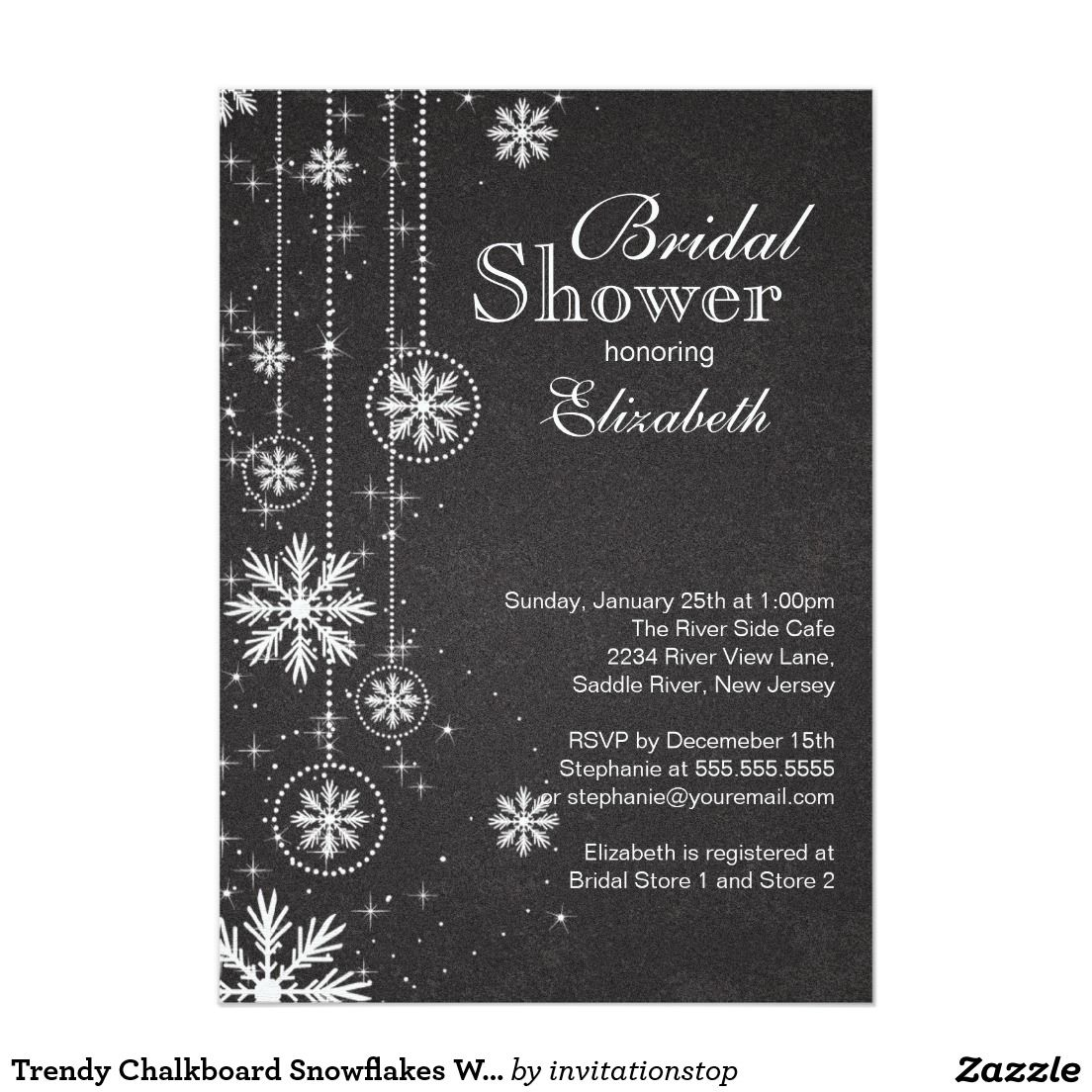 Trendy Chalkboard Snowflakes Winter Bridal Shower Card  Winter