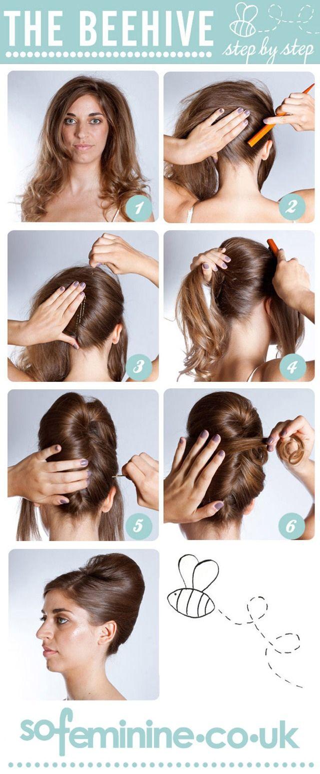 Step By Step Beehive Hairstyle  Diy hairstyles, Hair styles