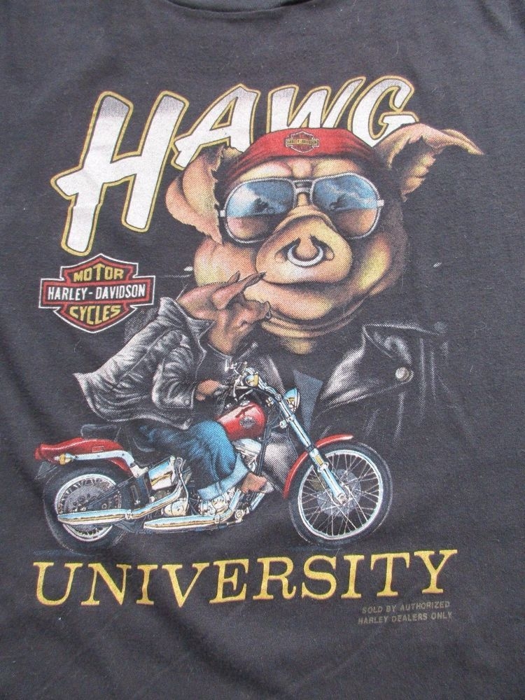 vtg 80s 3d emblem harley davidson pig hawg university t-shirt rare