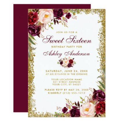Sweet Sixteen Gold Glitter Burgundy Floral Invitat