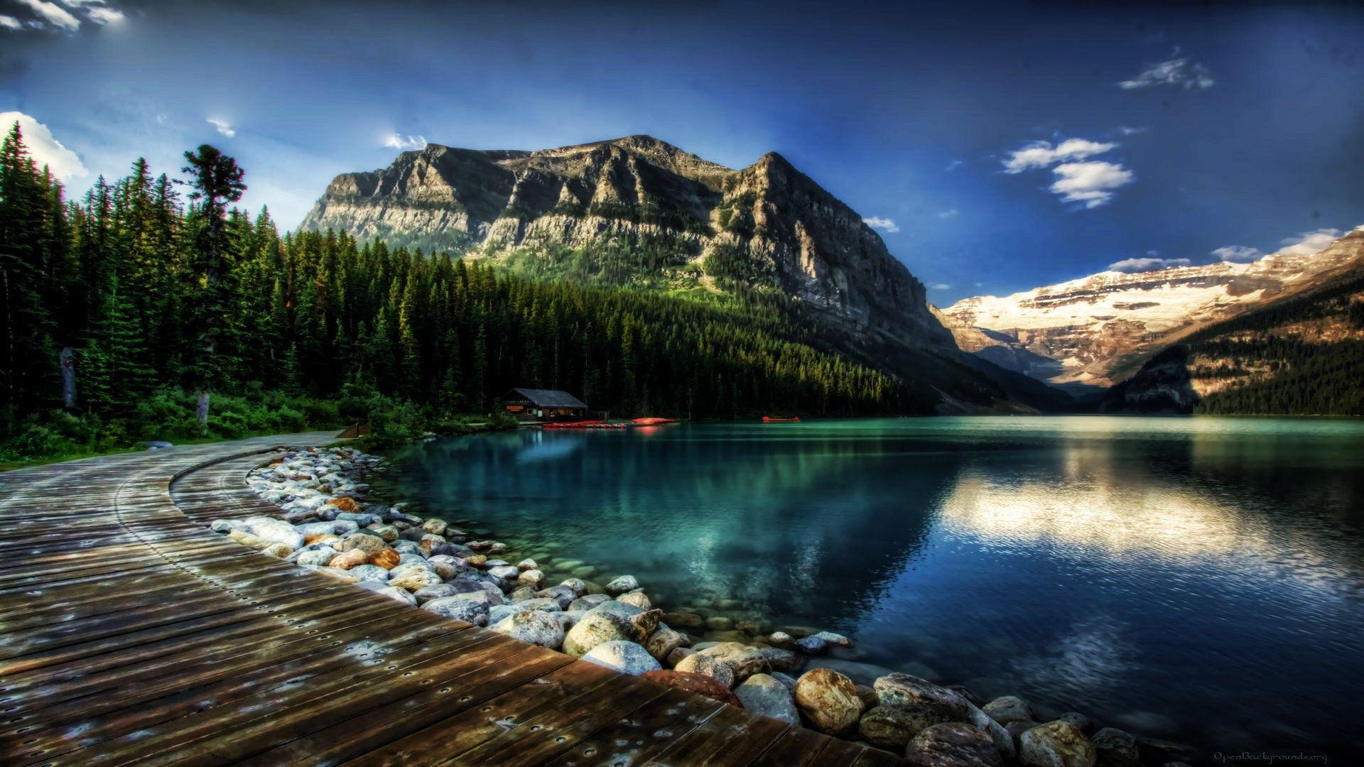 Lake Louise Alberta Canada Wallpaper Pays Fleuve Cabine