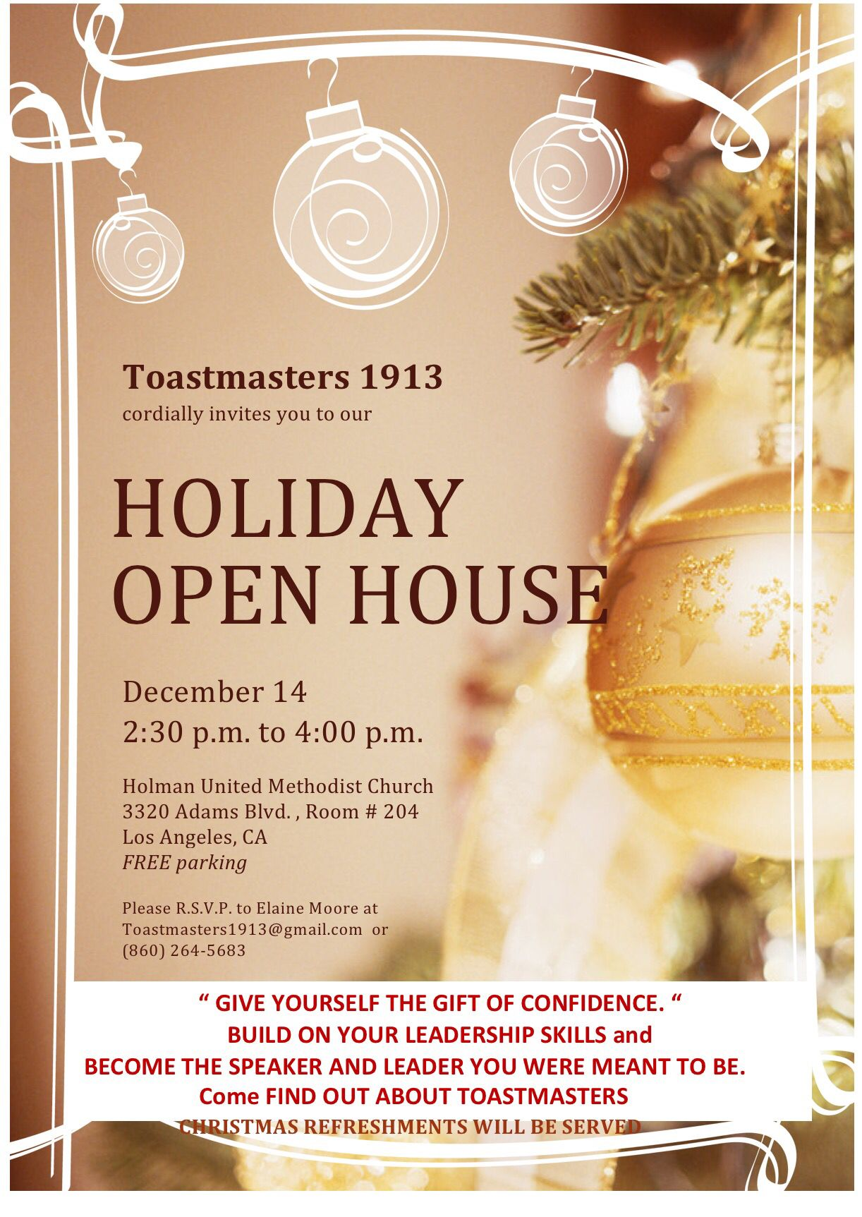 You Re Invited To A Holiday Open House Hosted By Toastmasters 1913 Open House Holiday Free Park