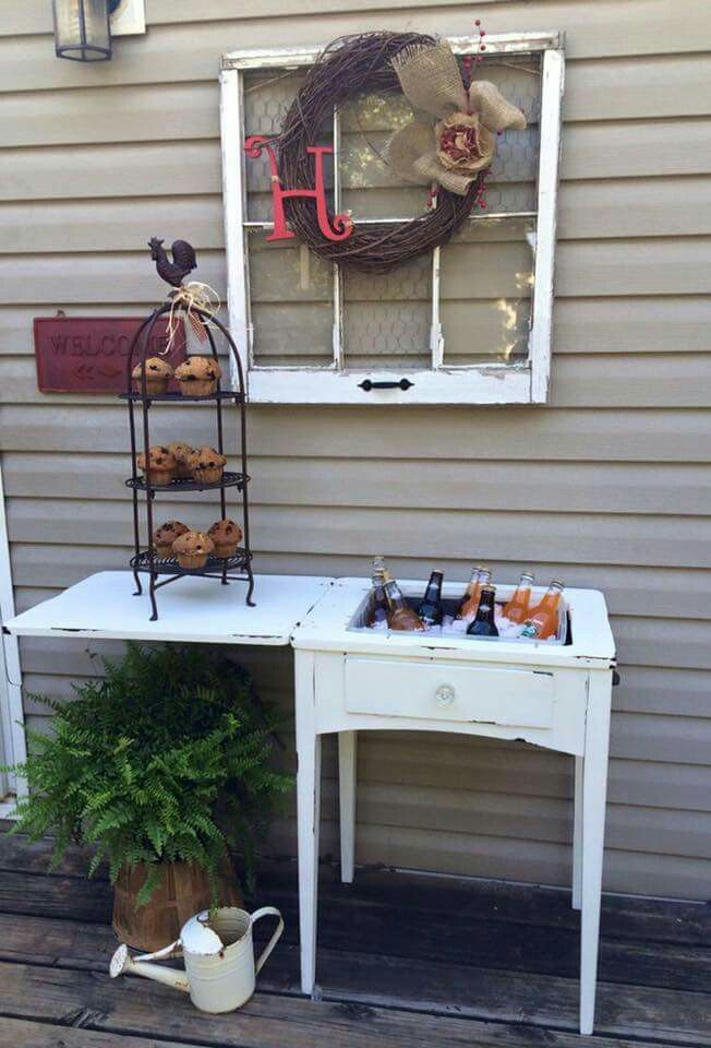 Beverage station from old sewing machine cabinet.